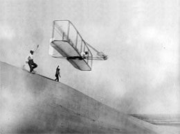 Wright brothers glider test in 1904